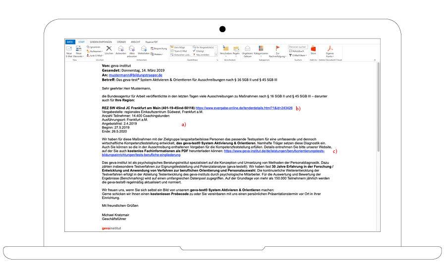 E-Mail Ausschreibungsservice geva-institut