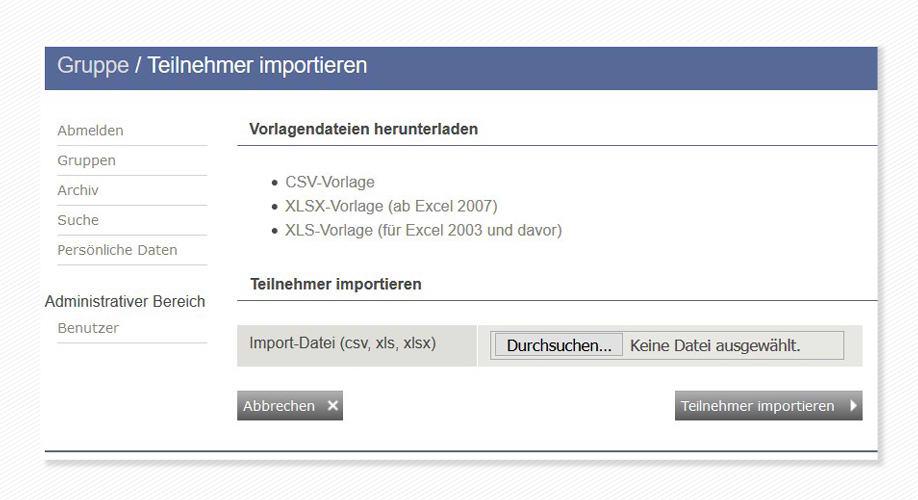 geva-Cockpit: Import von Teilnehmerdaten