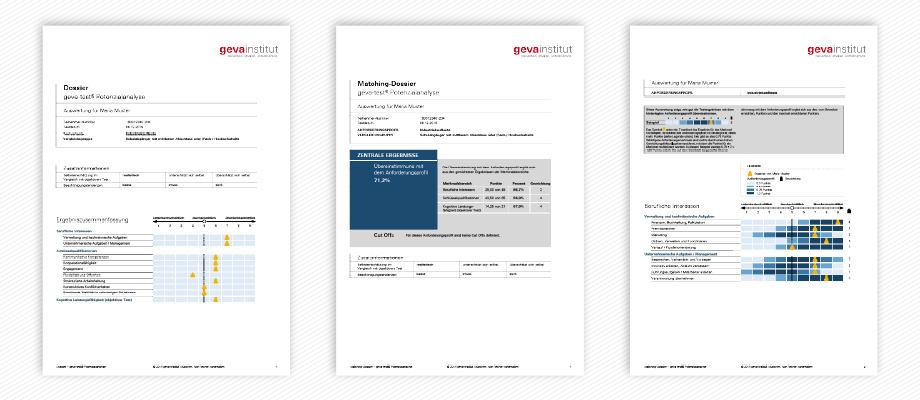 Bei der Auswertung zum geva-test® Potenzialanalyse ist auch die Erstellung eines Matching-Dossiers möglich